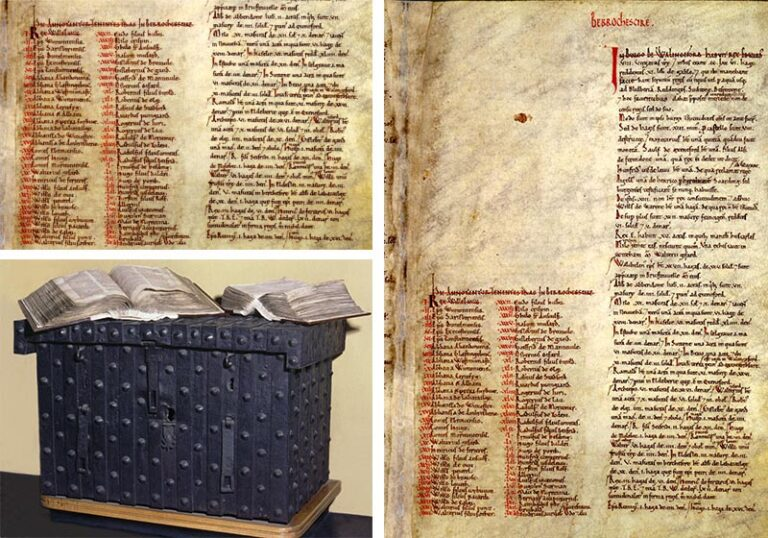 Domesday chest with Domesday Book in two volumes and a page from Great Domesday, listing individuals to be taxed from the county of Berkshire.