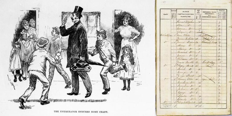 On the right, a page from the 1841 census from Hertfordshire, transcribed by an enumerator, and on the left a cartoon entitled 'Taking the Census: Experiences of a Census enumerator', Illustrated London News, c. 1891.