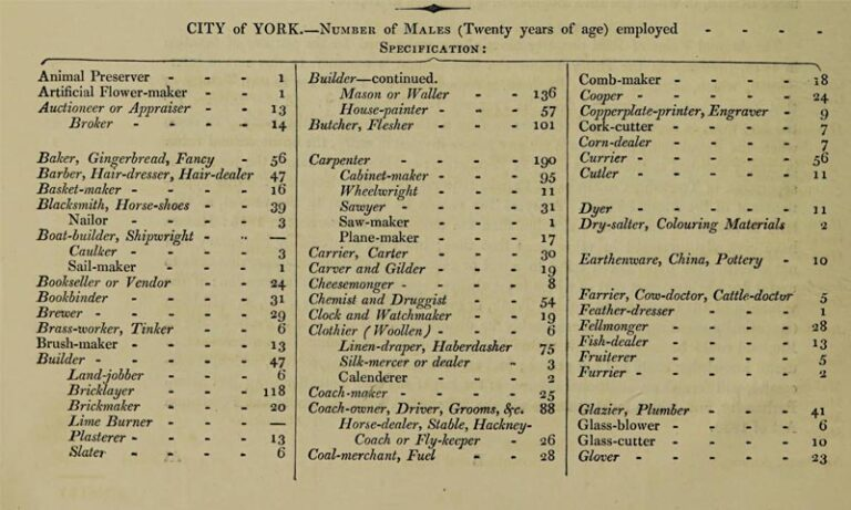 Table listing the male adults employed in various professions, alphabetised A-G in the City of York, from the Comparative account of the Population of Great Britain, 1831.