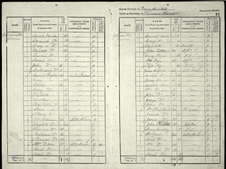 Census entry for 1841 for William Toye, transcribed by the enumerator.