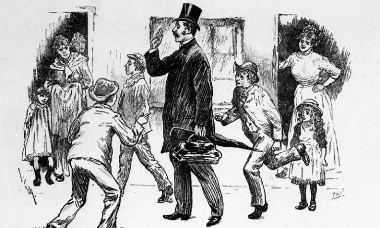 'Taking the census – Experiences of an enumerator', a series of cartoons in the Illustrated London News, 1891. This illustration shows a smartly dressed man with a top hat, surrounded children and women in front of their houses, as the man goes about his business.