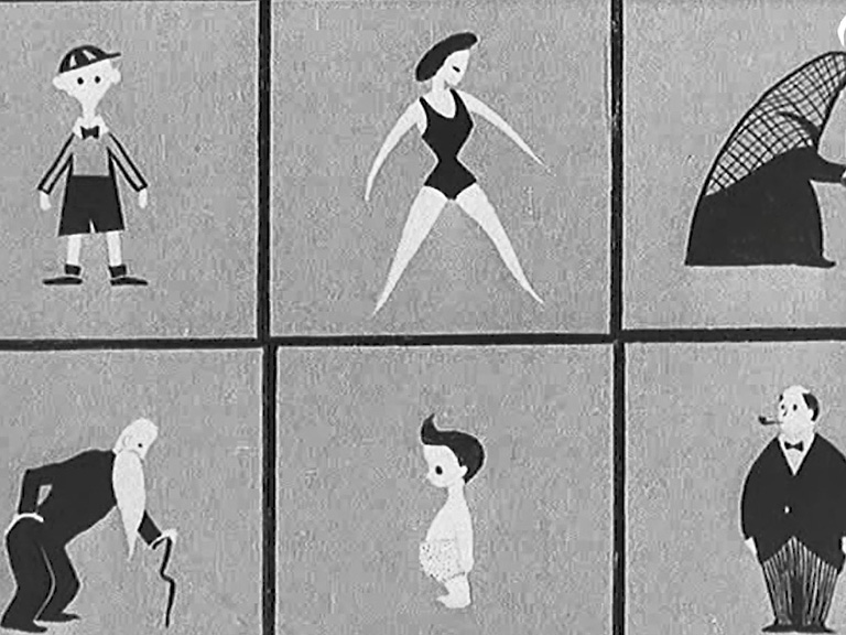 A still from a Pathe film promoting the 1951 census showing a young boy, a woman in a swimming costume, an old woman with a walking stick, an old man with a walking stick, an infant, and a pipe smoking businessman.