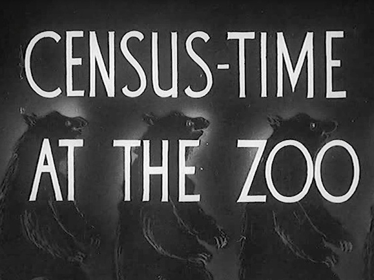 A still from a Pathe film with the titles Census-Time at the Zoo.