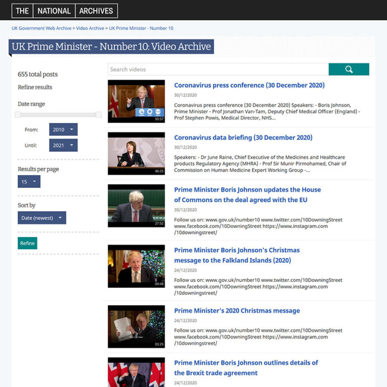 Current access page for archive of the Prime Minister's Office YouTube Channel.