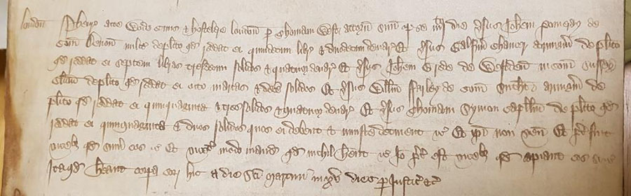 Debt case in the Court of Common Pleas by an innkeeper, Henry Atte Wode against Chaucer (and others) for a debt of £7 13s 4d [catalogue reference: CP 40/511 rot. 490d]
