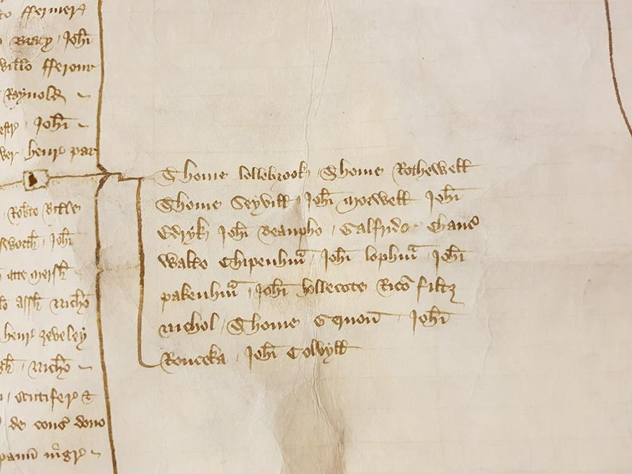 Black robes granted to Chaucer as one of those who received livery to mourn the death of the king's mother (Joan, Dowager Princess of Wales) in September 1385 [Catalogue reference E 101/401/16]