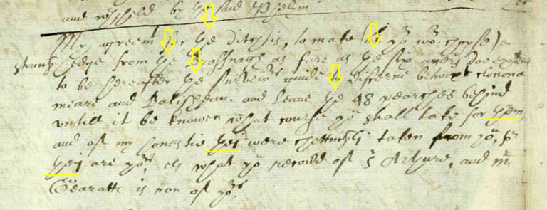 An example of palaeographic process identifying the grapheme 'th' - the five yellow arrows appended on the original document mark the article 'the' and the three yellow lines underline the pronouns 'them' and 'they'.