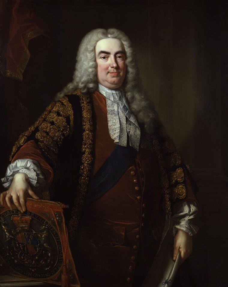 A classic painted portrait of Robert Walpole, 1st Earl of Orford, in robes and wig in the studio of Jean Baptiste van Loo in 1740.