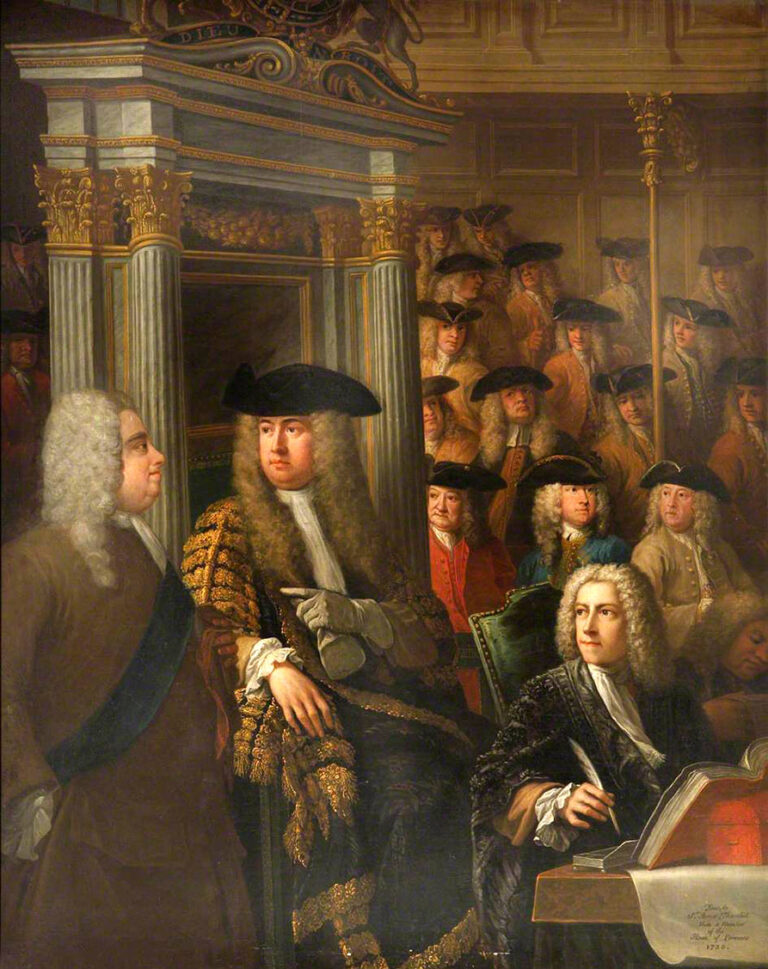In this painting we see Speaker Arthur Onslow calling upon Sir Robert Walpole to speak in the House of Commons in 1730.