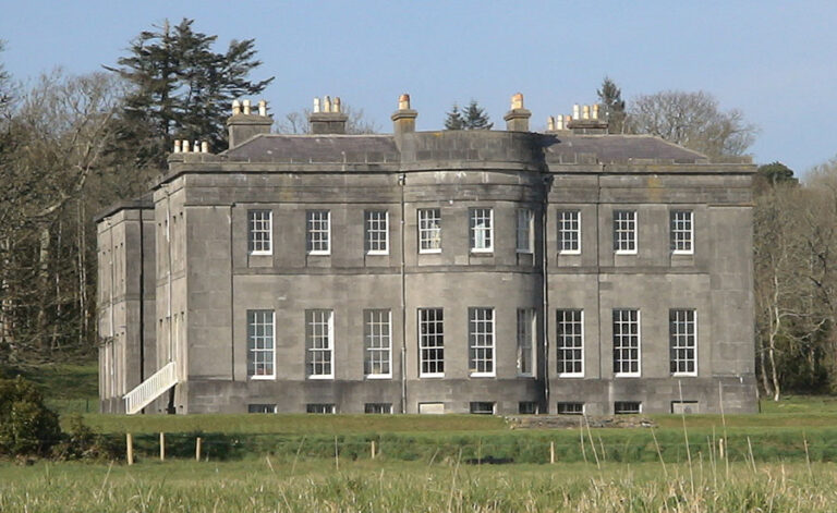 The grey and imposing Gore-Booth family home Lissadell House, in County Sligo, Ireland.