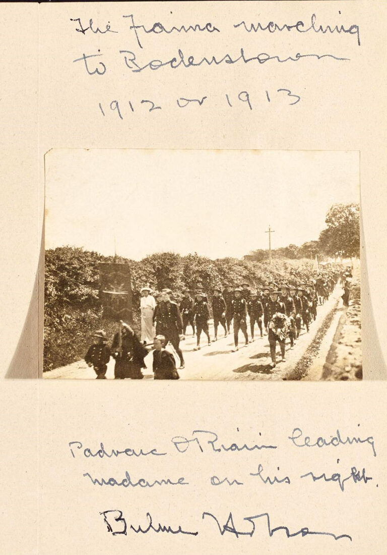 A faded photograph showing the Fianna marching to Bodenstown 1912 or 1913.