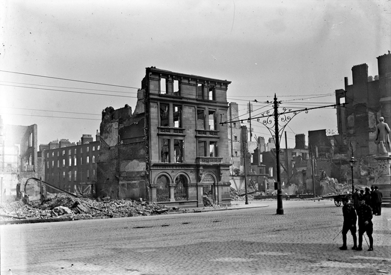 Damage in Dublin following the 1916 Easter Rising. The photograph shows a bombed and destroyed office building.