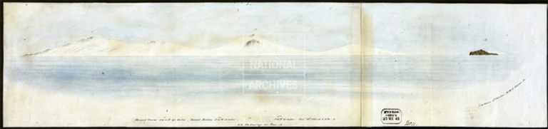 Watercolour painting of a view of Mount Erebus and Mount Terror, by J E Davis, 2nd Master, HMS Terror, 18 February 1841.
