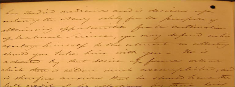 Letters to Ross from Sir John Richardson stated that Hooker's wish to join the Navy for opportunities to pursue natural history, c.1830s.