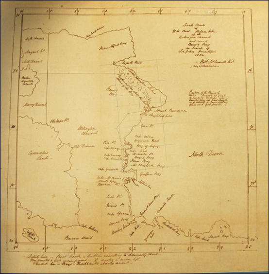 Track chart of HM boat Forlorn Hope up Wellington Channel and round Baring Bay in search of Sir John Franklin.