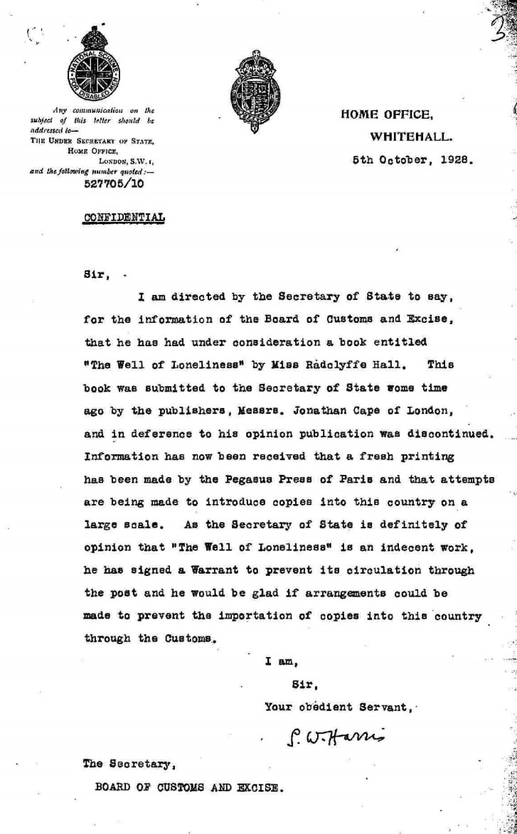 Letter from the Board of Customs and Excise regarding the planned seizure of copies of 'The Well of Loneliness' entering the UK.