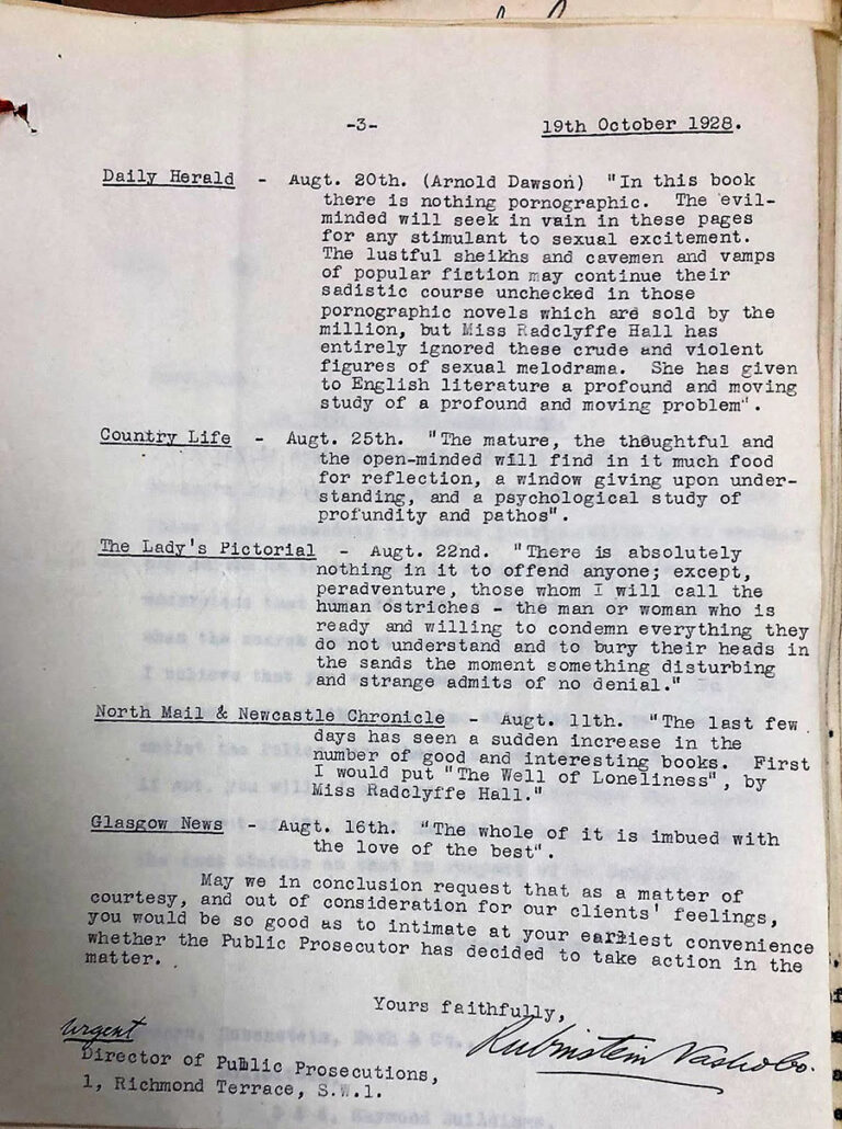 Reviews of 'The Well of Loneliness', collated for the Obscenity Trial by the Director of Public Prosecutions, 19 October 1928.