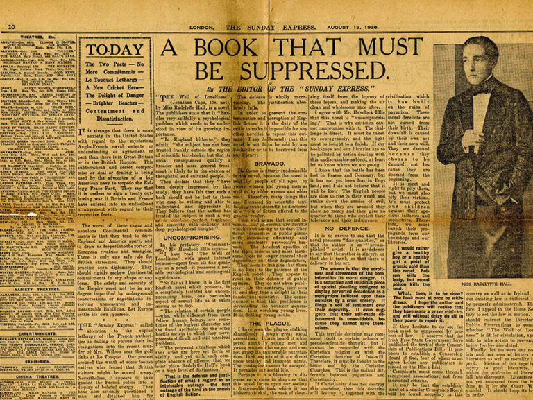 Press cutting regarding suppression of the book 'The Well of Loneliness'. The headline reads 'A Book That Must Be Suppressed', and alongside it is a photograph of Radclyffe Hall.