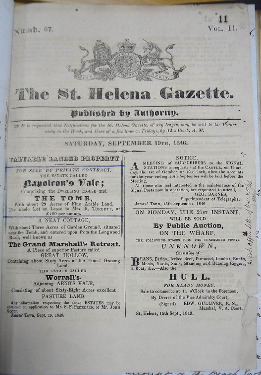 Page from St Helena Government Gazette announcing the sale of the Napoleon Vale estate, 19 September 1846.