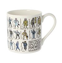 Photograph of a mug featuring illustrations of British Prime Ministers.