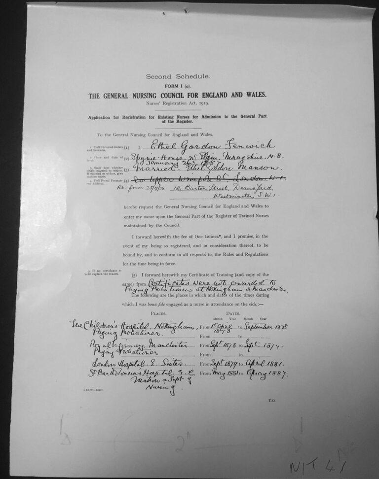 Ethel Gordon Fenwick's application to enter the register of nurses.