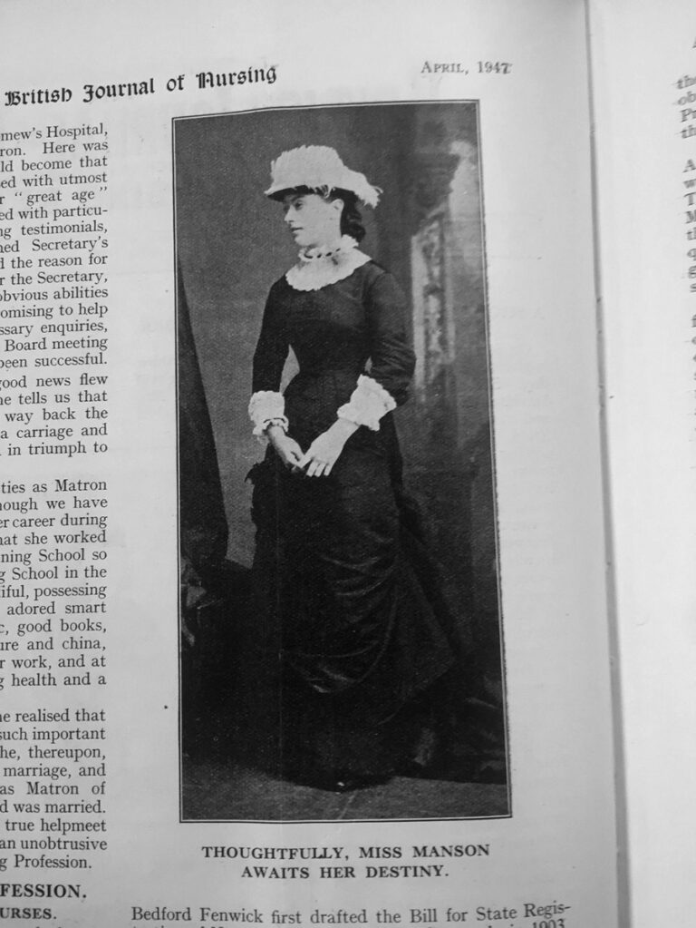 Photograph of Ethel Gordon Fenwick in the British Journal of Nursing, January 1947. The caption reads Thoughtfully Miss Manson awaits her destiny.