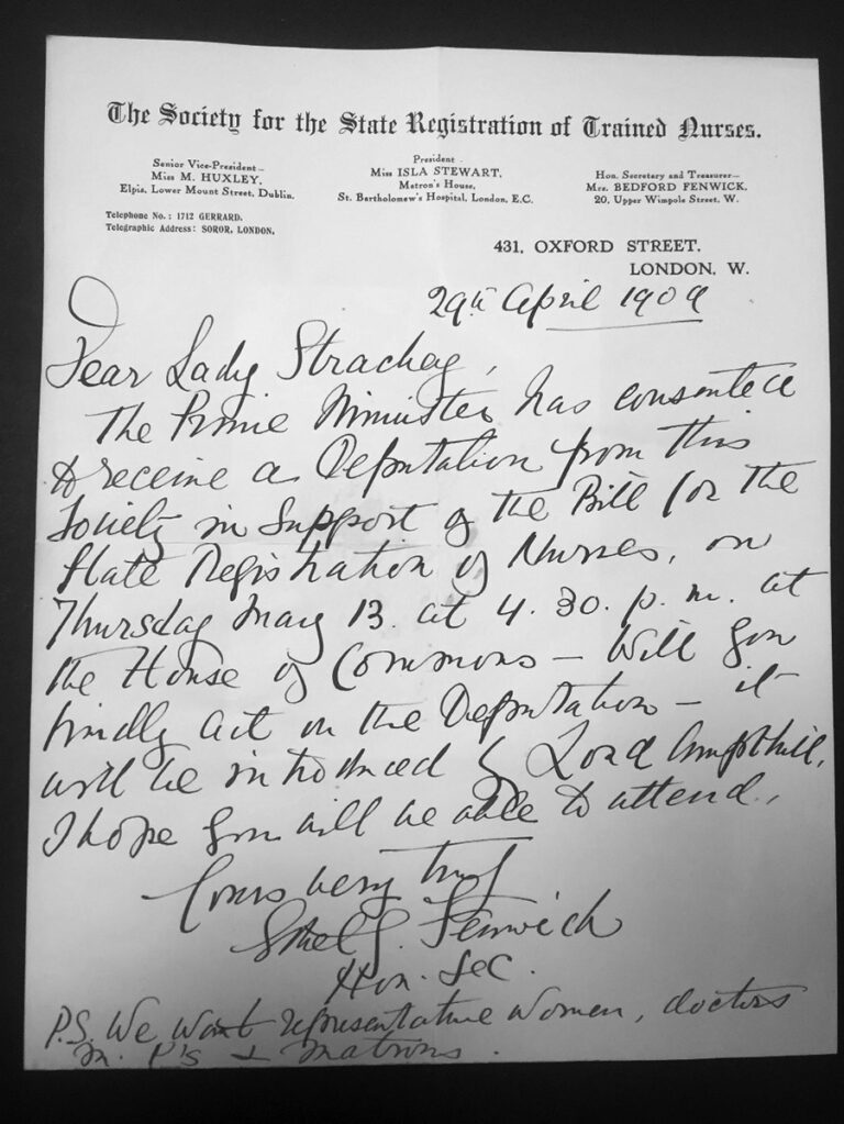 A letter from Ethel Gordon Fenwick to Lady Strachey informing her that the Prime Minister had agreed to hear a deputation from the 'Society for the State Registration of Trained Nurses' in support of a Bill.