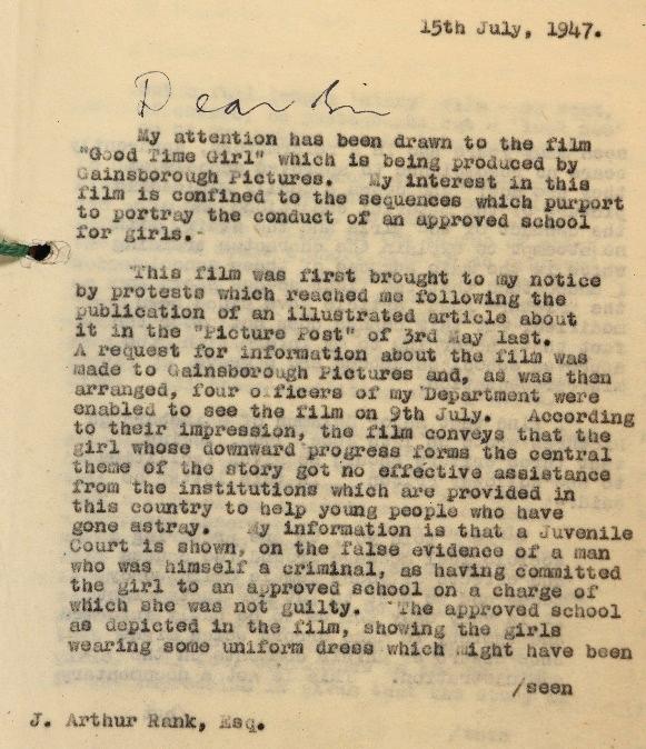 Letter from the Home Secretary, James Chuter Ede to J Arthur Rank.