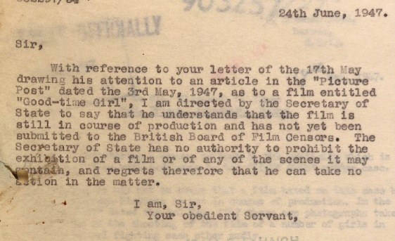 Letter from the Home Secretary, James Chuter Ede, to Mr Fletcher advising him that he has no power to prohibit a film from being shown.