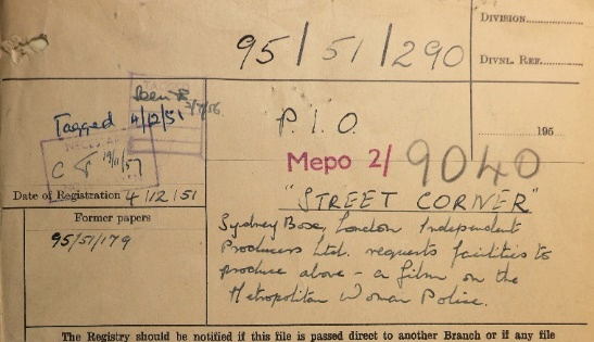 Cover of file MEPO 2/9040 about Street Corner.