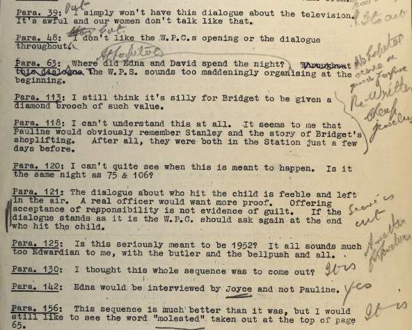 Typed comments on the Street Corner script from Elizabeth Bather, Chief Superintendent of the Metropolitan Women's Police Force, with pencil annotations by Percy Fearnley, the Public Information Officer.