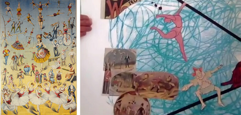 Lexie's artwork (right) inspired by the circus workshop Circus Performers 1889.