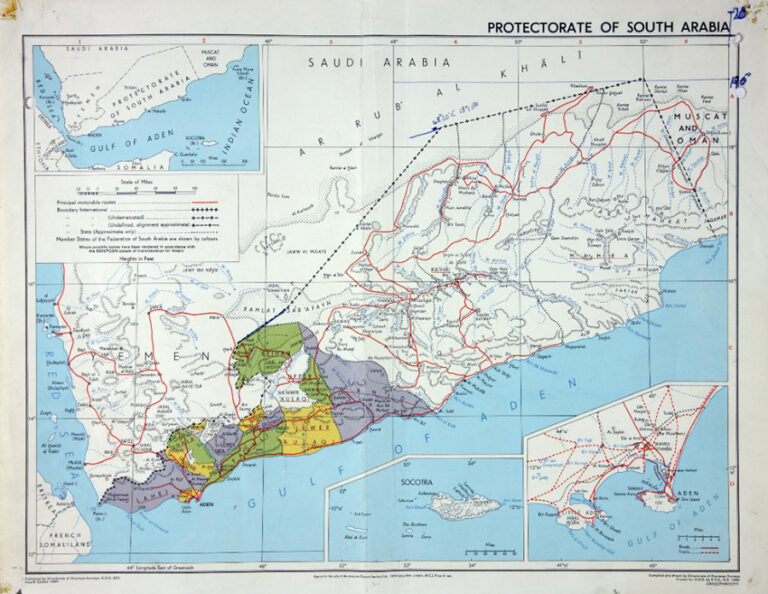Colour map of the Protectorate of South Arabia.