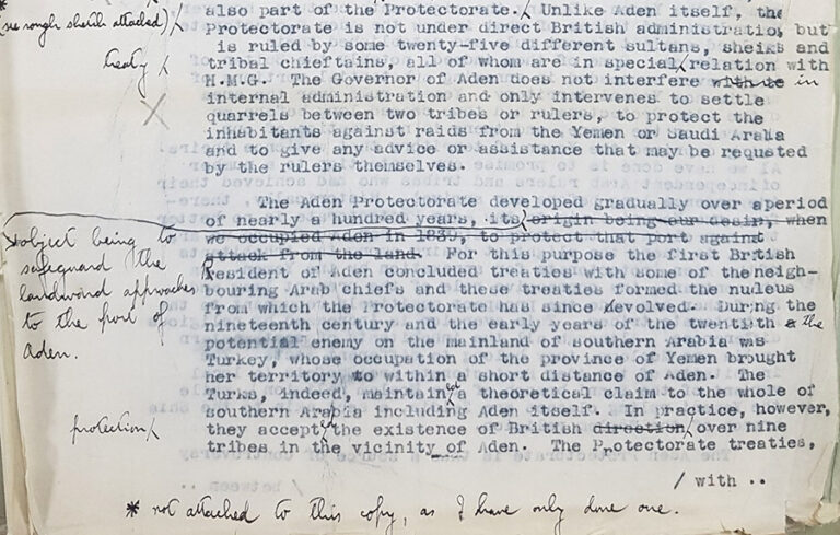 Extract from a typed document ''Policy in the Aden Protectorate: relations with Treaty Chiefs'.