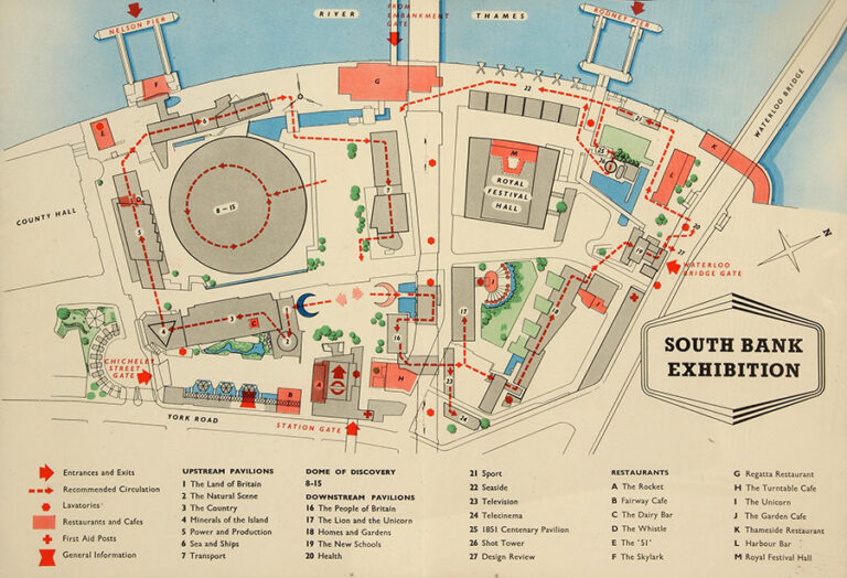 Festival of Britain South Bank Exhibition site plan.