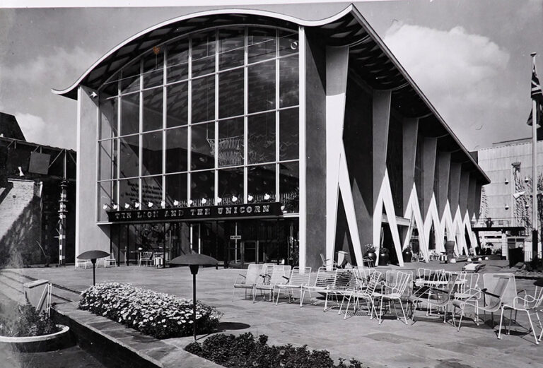 Black and white photograph showing the entrance front of the Lion and Unicorn Pavilion.