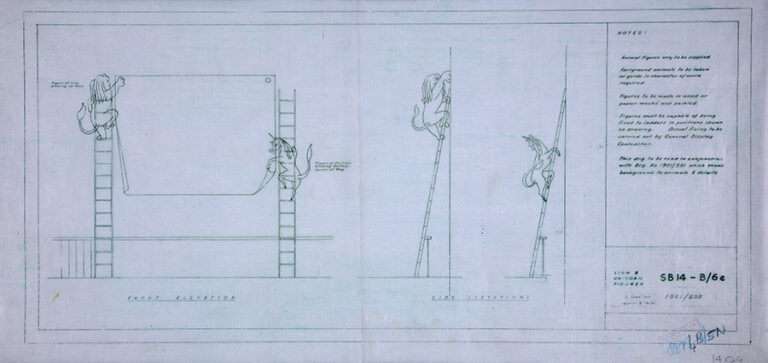 An early drawing of arrangement of lion and unicorn figures.