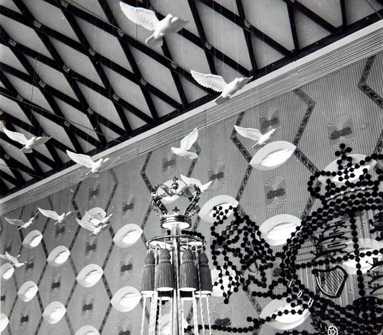 Doves at the Lion and Unicorn pavilion, 17 April 1951.