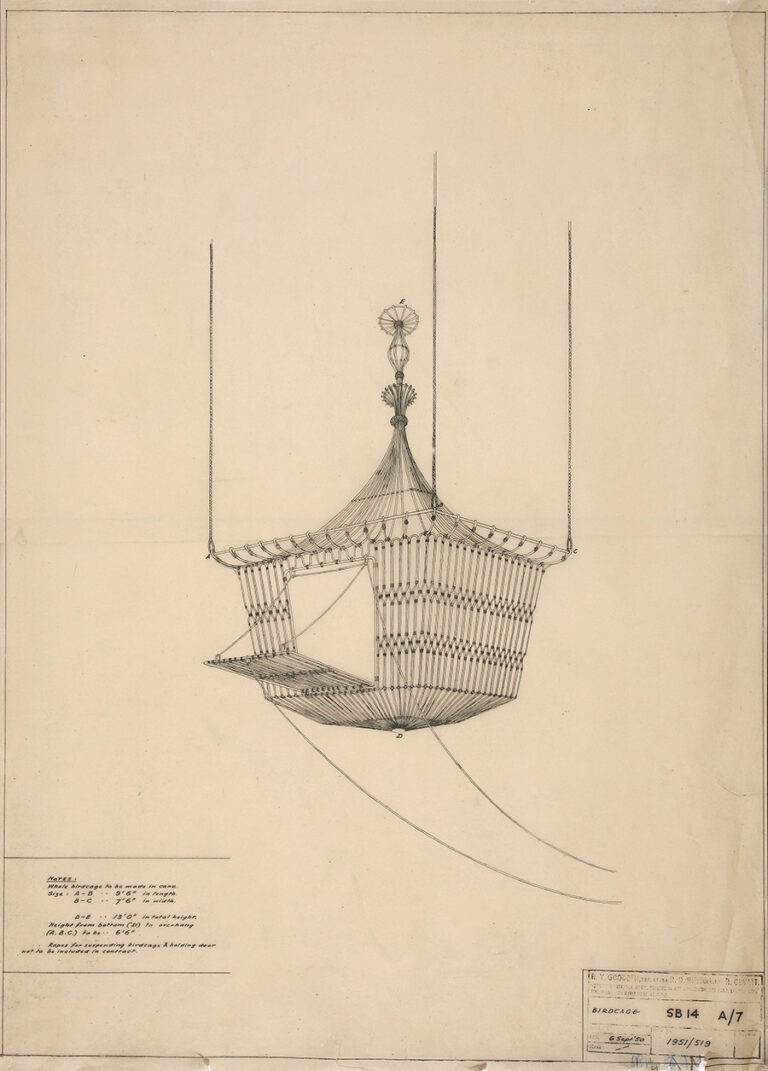 Drawing of a birdcage for doves.