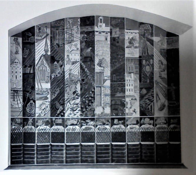 Photograph of preliminary model of a mural designed by Edward Bawden.