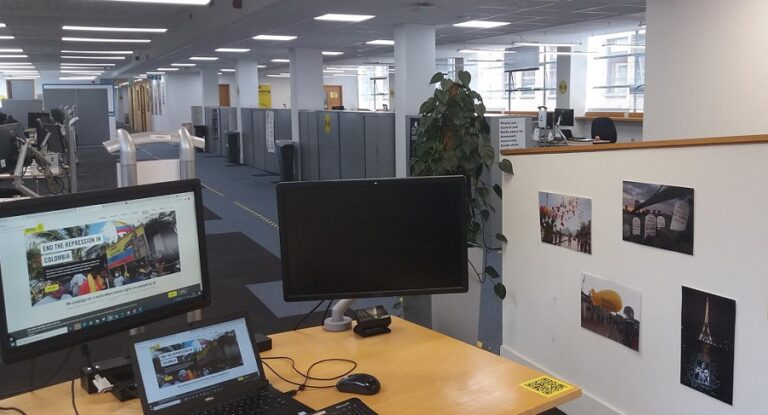 Noor's desk at the Amnesty International's International Secretariat offices.