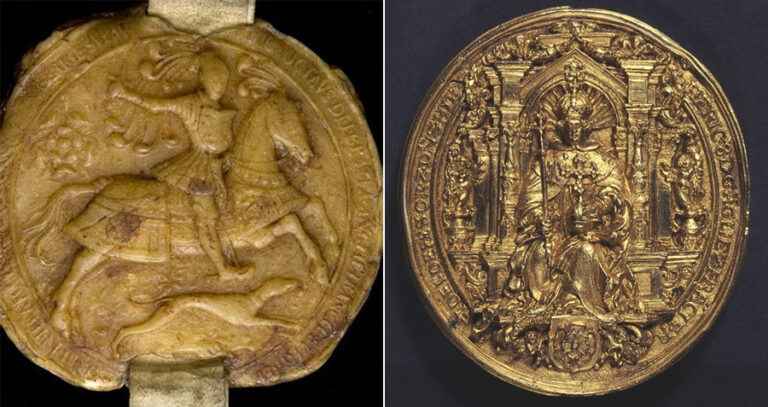 Left: A wax seal showing Henry as a warrior. Right: a gold seal (PRO 30/26/65) illustrating Henry as God's representative on Earth with the orb and sceptre together with a regal crown illustrating his power over the kingdom.