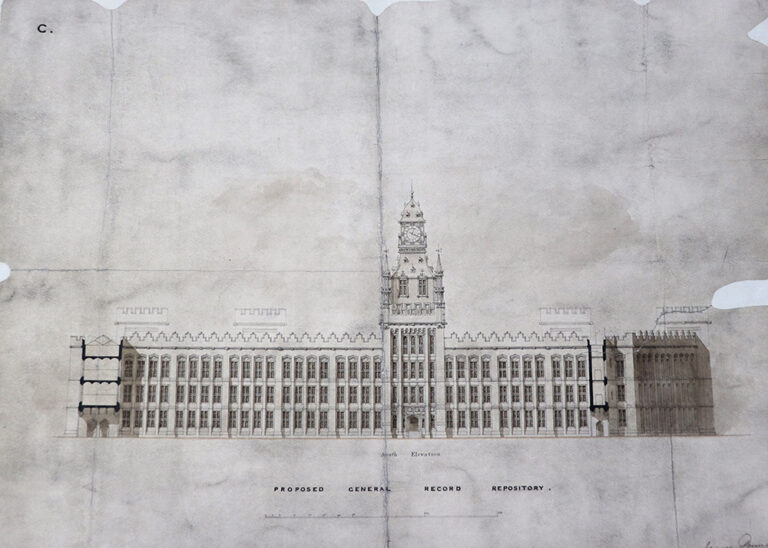 Elevations of proposed Record Repository on the Rolls estate. Signed by James Pennethorne, 1850.