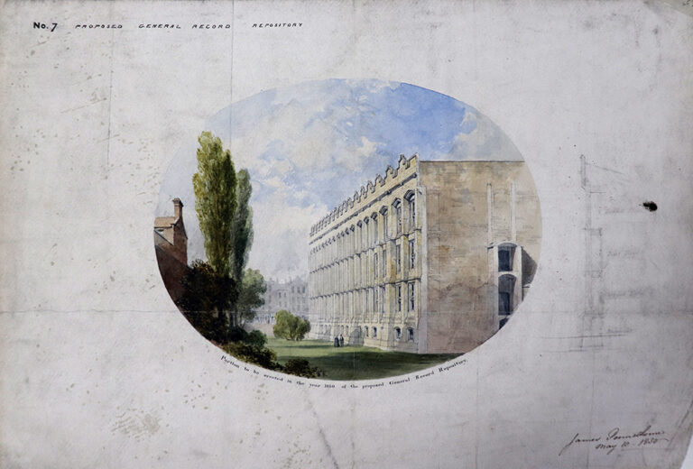 Impression of portion of proposed Record Repository to be erected on the Rolls Estate, Signed by James Pennethorne, 10 May 1850.
