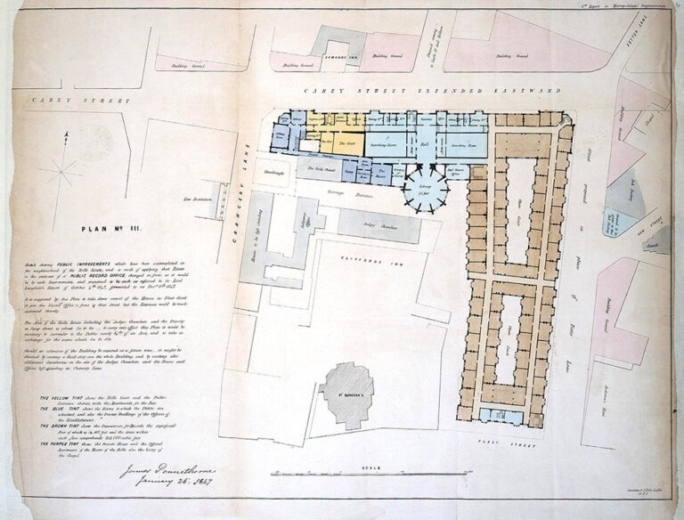 Plan showing proposed improvements to the Rolls Estate including the ground floor of the proposed Record Repository (public Record Office). Signed by James Pennethorne, 25 January 1847.