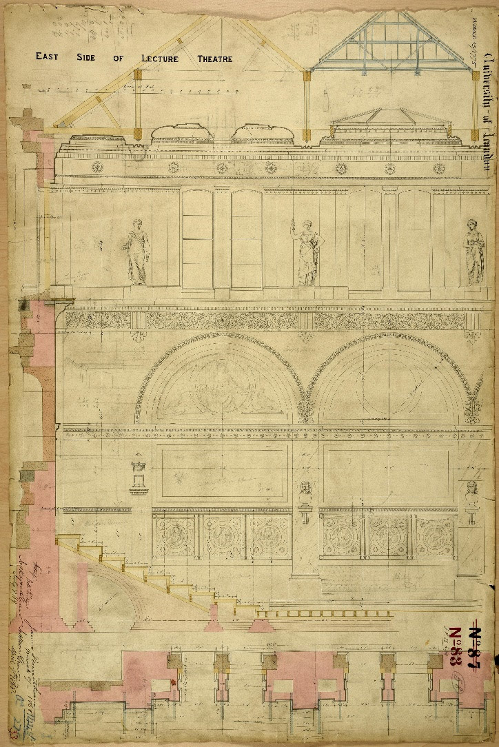 One of Pennethorne's drawings for the University of London lecture theatre at 6 Burlington Gardens, today the home of the Royal Academy.
