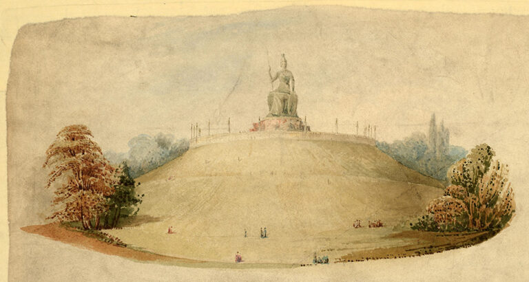 Detail of a plan for Primrose Hill. Signed by James Pennethorne, 2 August 1841. Only parts of this plan was carried out and the suggestion of an imposing statue of Britannia to sit on the top of the hill was not taken up.