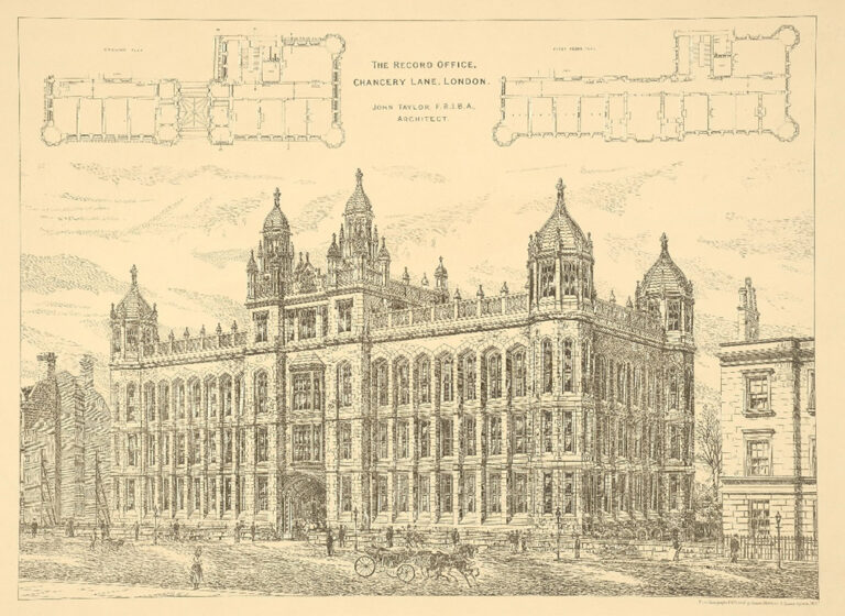Lithograph of Public Record Office, Chancery Lane, drawn by John Taylor (1892).
