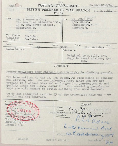 Extract from letter to L Chan Foo, 31 March 1944.
