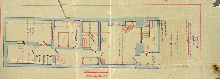 Plan of basement at 25 Fitzroy Square, London, 1927.